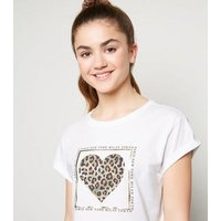 Girls White Leopard Print Metallic Heart T-Shirt New Look