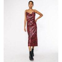 Pink Zebra Cowl Neck Satin Midi Slip Dress New Look