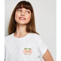 Girls White Peach Heart Slogan T-Shirt New Look