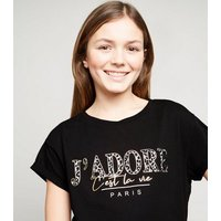 Girls Black J'Adore Slogan Raw Hem T-Shirt New Look