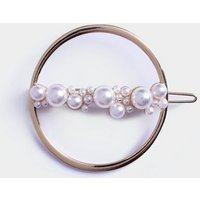 Gold Circle Faux Pearl Hair Slide New Look