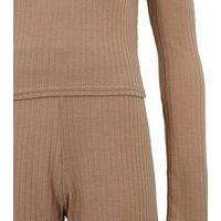 Girls Camel Ribbed Trousers Pyjama Set New Look