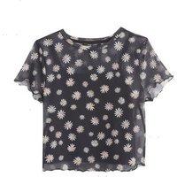 Girls Black Daisy Mesh Frill Trim T-Shirt New Look