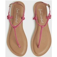 Bright Pink Leather Knot Strap Flat Sandals New Look