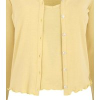 Pale Yellow Ribbed Cardigan and Cami Set New Look
