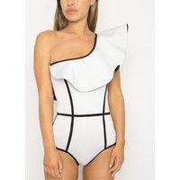 Black Velvet White Ruffle One Shoulder Swimsuit New Look