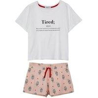 Girls White Tired Definition Slogan Short Pyjama Set New Look