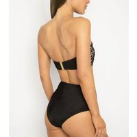 Wolf & Whistle Black Eyelet High Waist Bikini Bottoms New Look