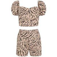 Off White Tiger Print Denim Shorts New Look
