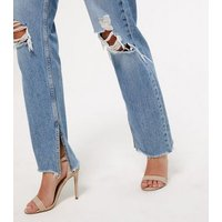 Blue Ripped Full Length Anica Straight Leg Jeans New Look