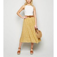 Apricot Mustard Daisy Midi Skirt New Look