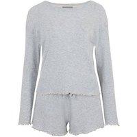 Grey Ribbed Long Sleeve Short Pyjama Set New Look