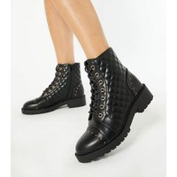 Black Quilted Stud Lace Up Boots New Look