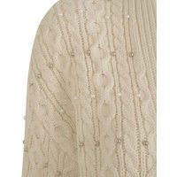 Off White Cable Knit Beaded Cardigan New Look