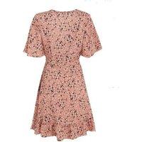 Pink Floral Ruffle Mini Wrap Dress New Look