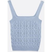 Pale Blue Cable Knit Beaded Vest New Look