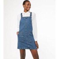 Tall Blue Denim Pinafore Dress New Look