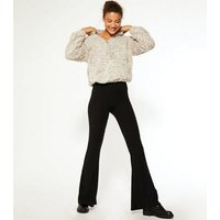 Tall Black Ribbed Flared Leggings New Look