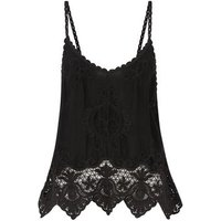 Black Crochet Scallop Hem Cami New Look