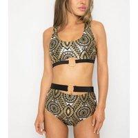 Wolf & Whistle Gold Tile Print Crop Bikini Top New Look