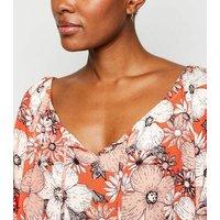 Apricot Orange Floral Crochet Trim Mini Dress New Look
