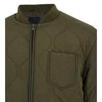 Khaki Quilted Zip Front Jacket New Look