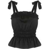 Black Satin Shirred Tie Strap Cami New Look