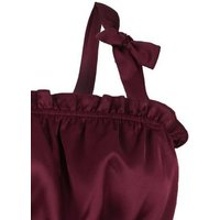 Burgundy Satin Shirred Tie Strap Cami New Look