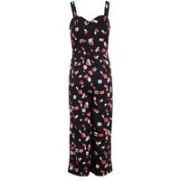 Black Brush Stroke Print Button Jumpsuit New Look