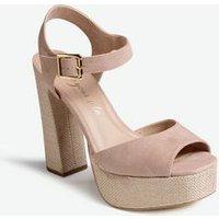 Cream Canvas Platform Block Heel Sandals New Look