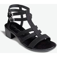 Wide Fit Black Suedette Caged Block Heel Sandals New Look