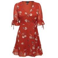 Rust Floral Chiffon Mini Wrap Dress New Look