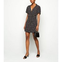 Apricot Black Spot Print Button Up Playsuit New Look