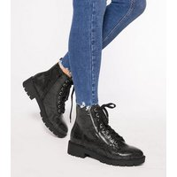 Black Faux Snake Chunky Lace Up Boots New Look Vegan