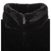 Black Faux Fur High Neck Jacket New Look