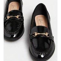 Black Patent Metal Bar Loafers New Look Vegan