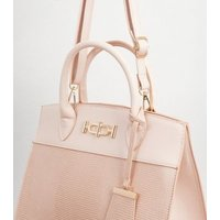 Pale Pink Faux Snake Structured Tote Bag New Look Vegan