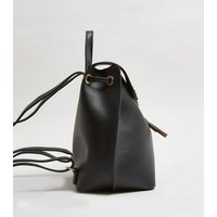 Black Leather-Look Suedette Panel Backpack New Look Vegan