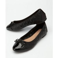 Black Leather-Look Quilted Ballet Pumps New Look Vegan