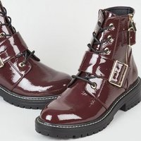 Dark Red Patent Lace Up Buckle Boots New Look Vegan