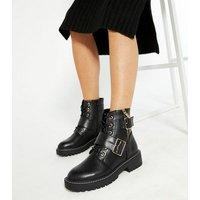 Black Buckle and Zip Lace Up Biker Boots New Look Vegan