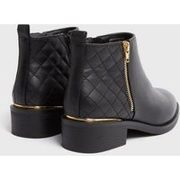 Black Quilted Panel Flat Ankle Boots New Look Vegan