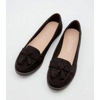 Black Suedette Tassel Trim Loafers New Look