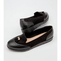 Black Leather-Look Suedette Panel Tassel Trim Loafers New Look