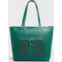 Dark Green Leather-Look Zip Front Tote Bag New Look Vegan