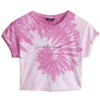 Girls Pink Tie Dye Swirl Slogan T-Shirt New Look