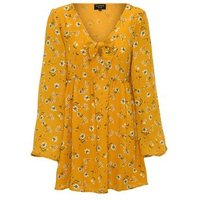 Sunshine Soul Yellow Floral Tie Skater Dress New Look