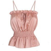 Cameo Rose Pale Pink Satin Shirred Cami New Look