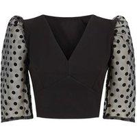 Cameo Rose Black Spot Organza Sleeve Top New Look