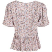 Blue Ditsy Floral Puff Sleeve Peplum Blouse New Look